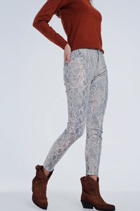 Beige Coloured Pants With Snake Print