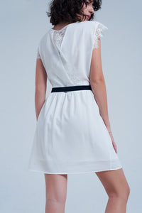 White Open Back Dress With Lace Insert
