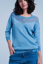 Load image into Gallery viewer, Blue Metallic Knit Sweater