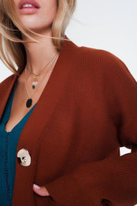 V Neck Button Front Brown Cardigan