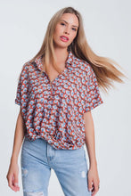 Load image into Gallery viewer, Knot Front Blouse in Red Floral Print