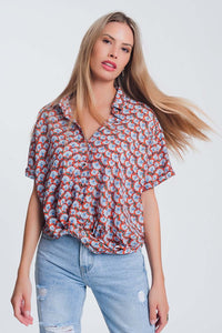 Knot Front Blouse in Red Floral Print