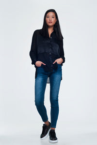 Black Relaxed Satin Long Sleeve Shirt