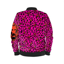 Load image into Gallery viewer, Women's Pink & Coral Leopard Bomber Jacket