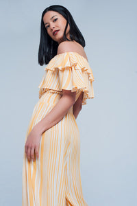 Yellow Striped Jumpsuit With Boat Neck