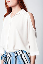 Load image into Gallery viewer, White Blouse With Front Buttons and Cold Shoulders