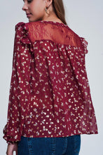 Load image into Gallery viewer, Print Ruffle Shoulder Maroon Shirt