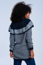 Load image into Gallery viewer, Navy Sweater With Stripes and Ruffle