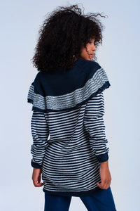 Navy Sweater With Stripes and Ruffle