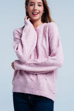 Load image into Gallery viewer, Pink Cable Knitted Sweater With Round Neck
