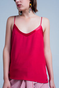 Red Cami Top With Shiny Pattern
