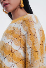 Load image into Gallery viewer, Yellow Striped Sweater With Open Knit Detail