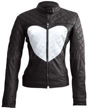 Load image into Gallery viewer, Women Black White Heart Leather Jacket