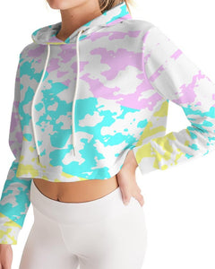 Women's Summer Collage Cropped Long Sleeve Hoodie