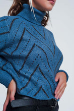 Load image into Gallery viewer, Woven Blue Turtleneck Sweater