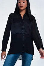 Load image into Gallery viewer, Black Relaxed Satin Long Sleeve Shirt