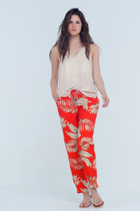 Red Pants With Leaf Print