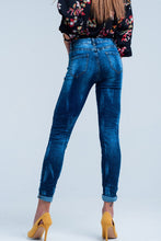 Load image into Gallery viewer, Blue Wrinkled High-Waist Skinny Jeans