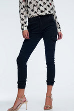 Load image into Gallery viewer, Slim Utility Cargo Jeans in Black