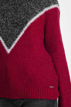 Load image into Gallery viewer, Chevron Color Block Sweater in Red