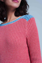 Load image into Gallery viewer, Rib Stitch Sweater With Blue Edge in Red