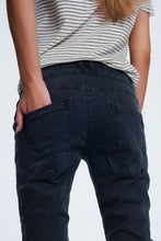 Load image into Gallery viewer, Drop Crotch Skinny Jean in Grey