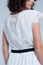 Load image into Gallery viewer, White Open Back Dress With Lace Insert