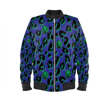 Load image into Gallery viewer, Women's Blue Leopard Bomber Jacket