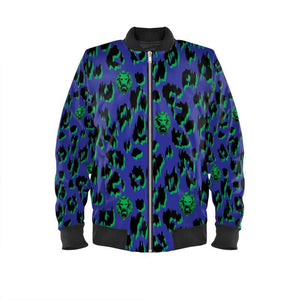 Women's Blue Leopard Bomber Jacket