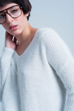Load image into Gallery viewer, Cream Angora V-Neck Sweater
