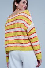 Load image into Gallery viewer, Yellow Striped Rib Stitch Knitted Sweater