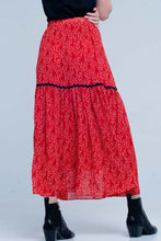 Load image into Gallery viewer, Red Polka Dot Pleated Midi Skirt