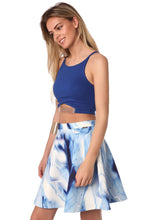 Load image into Gallery viewer, Blue Cami Crop With Mesh Detail in Gold-Tone Finish
