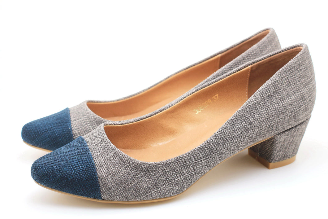 Two Tone Pointed Toe Pumps (Grey)