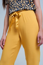 Load image into Gallery viewer, Mustard Slim Fit Pants With Satin Belt