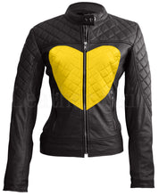 Load image into Gallery viewer, Women Black Yellow Heart Leather Jacket