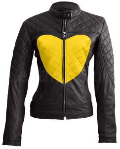 Women Black Yellow Heart Leather Jacket