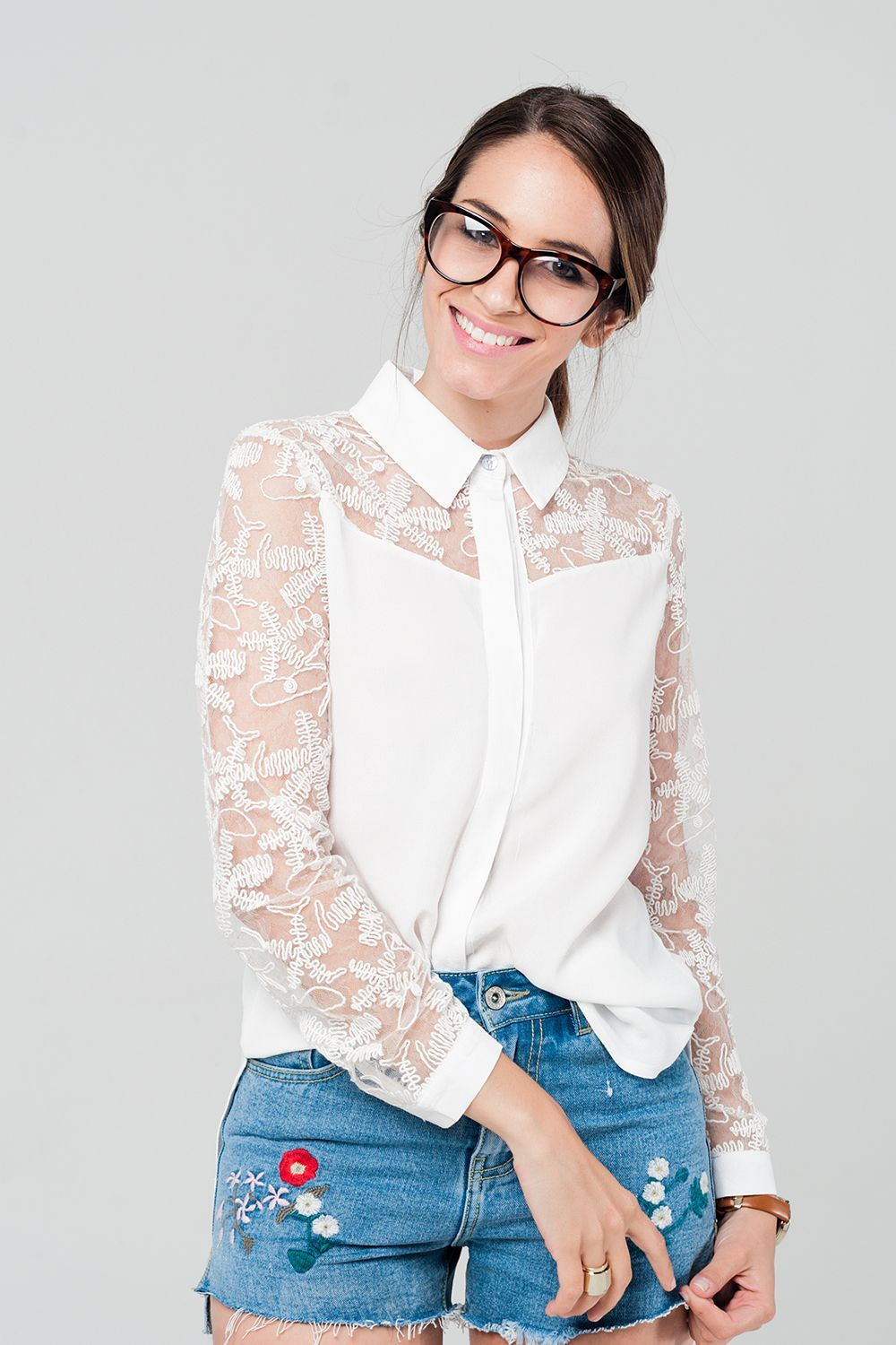 White Shirt With Lace Details