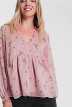 Load image into Gallery viewer, Long Sleeve Smock Pink Blouse With Frill Neck Detail