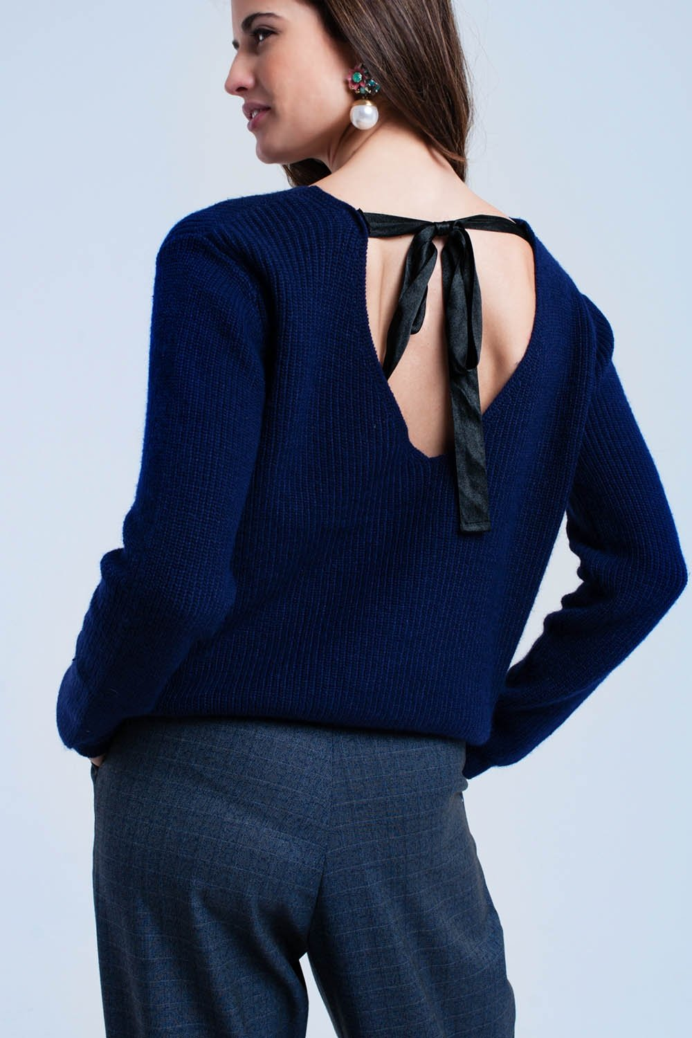 Navy Sweater With Black Ribbons