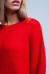 Red Knitted Boat Neck Sweater