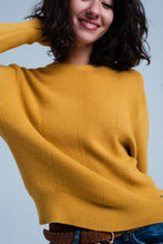 Load image into Gallery viewer, Mustard Textured Sweater With Round Neck