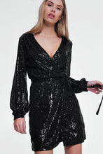 Load image into Gallery viewer, Black Nightdress With Long Sleeves