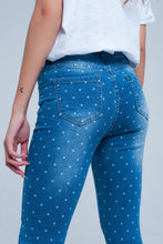 Load image into Gallery viewer, Skinny Jeans in Polka Dot Print