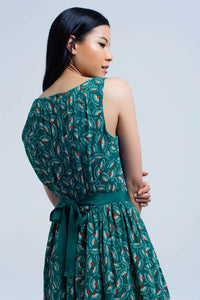 Green Mini Dress With Geo Print and Bow