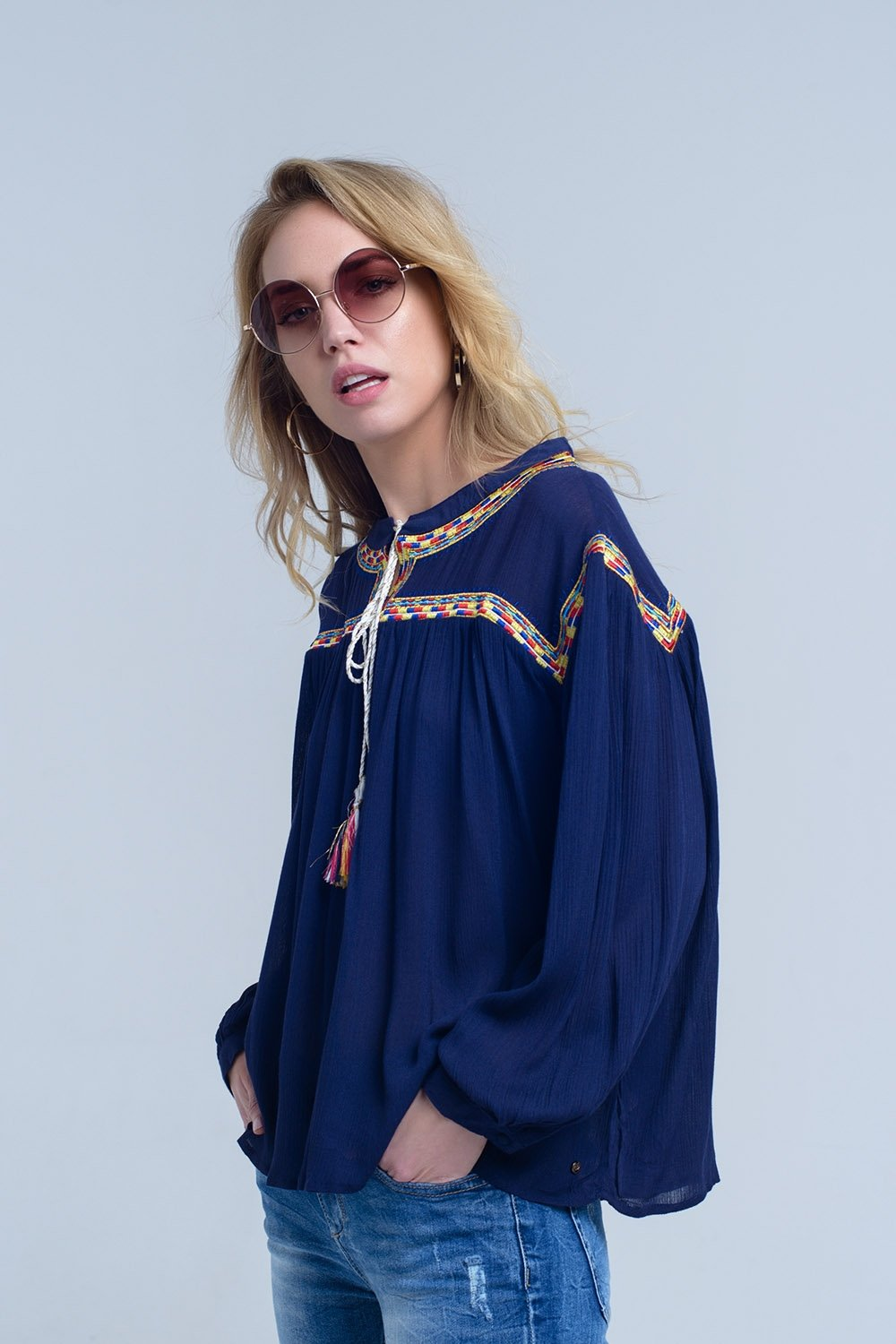 Embroidered Navy Blouse