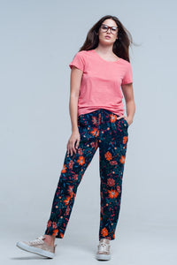 Floral Print Pants With Tie Waist