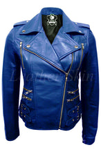 Load image into Gallery viewer, Women Blue Leather Jacket