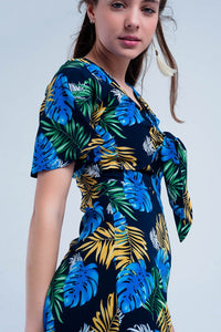 Navy Jumpsuit With Tropical Print
