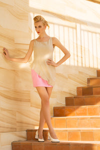 Moon Rise Ruffle Mini Dress in Light Beige